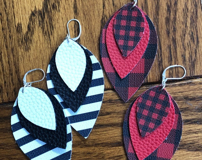Three layer leaf faux leather dangle earrings, buffalo plaid faux leather earrings, faux leather statement earrings, leaf style faux leather