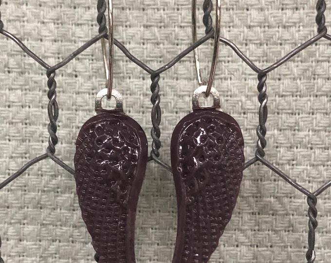 purple glass wing earrings, purple wing dangle earrings, thin purple glass wing earrings, purple opaque dangle wing earrings, angel wings.