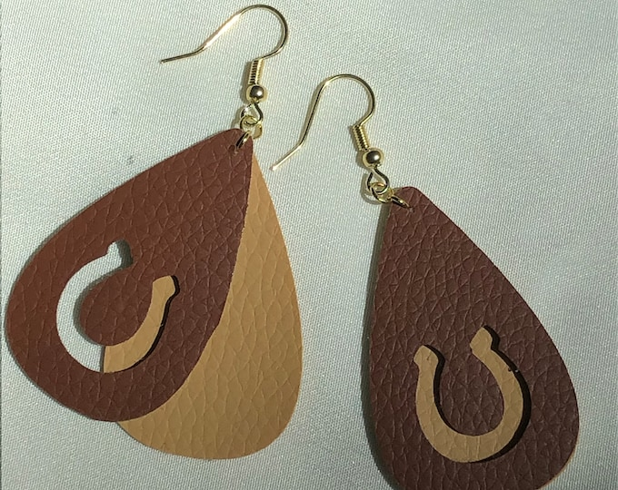 double layer horseshoe faux leather earrings, light and dark brown faux leather double teardrop horseshoe earrings, gold and brown horseshoe