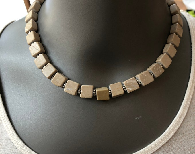 Natural stone choker, light brown natural stone necklace, light brown natural stone, polished light brown natural stone choker, light brown