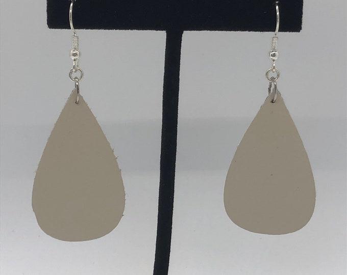 Teardrop leather earrings, leaf leather earrings, cream teardrop earrings, cream leaf leather earrings, boho hippy leather dangle earrings