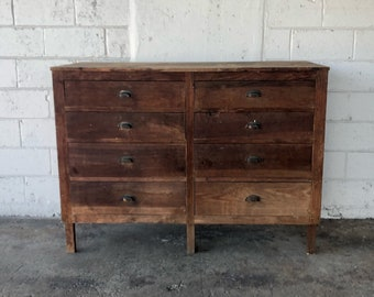 Large Antique 8 Drawer Wooden Apothecary Cabinet Workbench Parts Bin Card  Catalog General Store TV Console Entryway