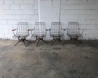 Vintage Set Mid Century Modern Homecrest Wire Patio Chair Furniture MCM Lawn