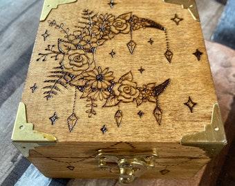 Crescent Flower Moon Pyrography Wooden Box, Woodburning Jewellery Box, Trinket Box