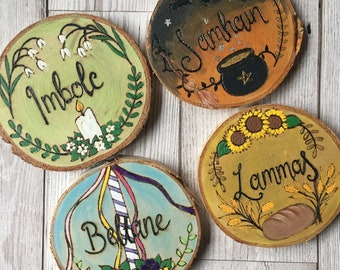 Major Sabbats Altar Decoartions, Set of 4 Pyrography Woodburned and Handpainted Wood Slices