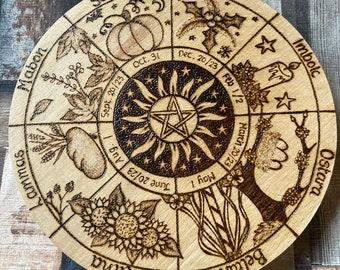 Wheel of the Year, Pagan Sabbats Altar Decor, Pyrography Woodburning