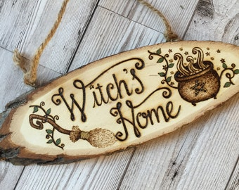 Witch's Home Wooden Sign, Woodburning Pyrography Witch Decor