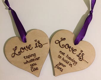 Wooden Hearts, Set of 2, Handburned, Personalised, Any Wording,8cm Hearts, Hanging Hearts, Pyrography, Quotes, Wedding Gift, Anniversary