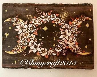 Triple Moon Goddess Wall Art, Woodburning Pyrography and Handpainted