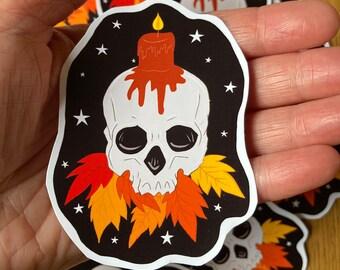 Skull Sticker, Halloween, Samhain Autumn Stickers