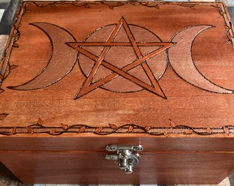 Pyrography Wooden Witch's Storage Box, Woodburned Solid Wood Box with Pentacle and Triple Moon Goddess Design