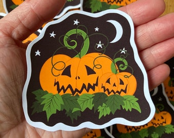 Pumpkin sticker, spooky Halloween stickers