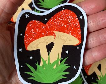 Mushroom Toadstool Sticker, Halloween Samhain Autumn Stickers