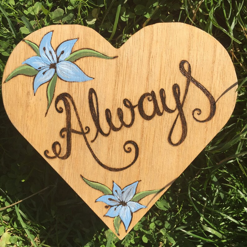 Wooden Love Heart Shaped Trinket Box Decorated with Always and Lily Design Gift for Her, Pyrography Jewellery Box