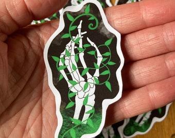 Skeleton hand and vines Sticker, Halloween Samhain sticker