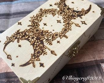 Triple Moon Goddess Tarot /Jewellery Box, Pyrography Woodburning