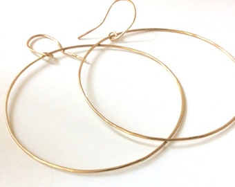 Extra Large Gold Hoops - 10K SOLID Gold - Choose Your Size! Hammered Gold Hoop Earrings - Marked 10K