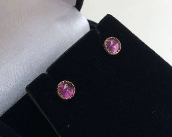 14K SOLID Gold Amethyst Earrings - 5mm Amethyst Round Glowing Natural Amethyst Hand Set in 14K Solid Gold - Heirloom Quality