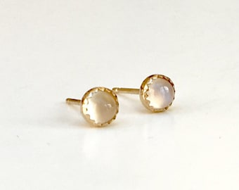 SOLID Gold Moonstone Studs 14K 5mm Round Glowing Natural Moonstones Hand Set in 14K Solid Gold - Heirloom Quality