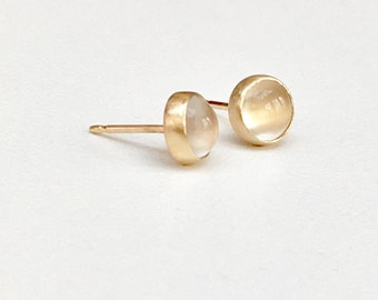 SOLID Gold Moonstone Studs 14K 6mm Handcrafted Round Glowing Natural Moonstones Hand Set in 14K Solid Gold - Heirloom Quality