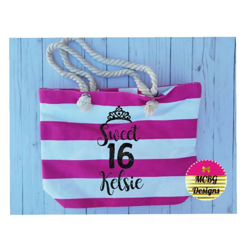 Personalized Sweet 16 Beach BagSweet Birthday Gift16 Year