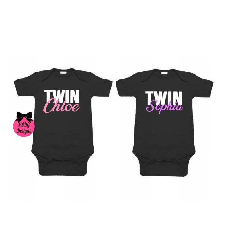Personalized Twin Baby Bodysuit\u2022Twins Toddler Shirts\u2022Baby Girl Outfits\u2022Twins Matching Outfits\u2022Twins Baby Shower Gifts\u2022Twin  Christmas Gifts