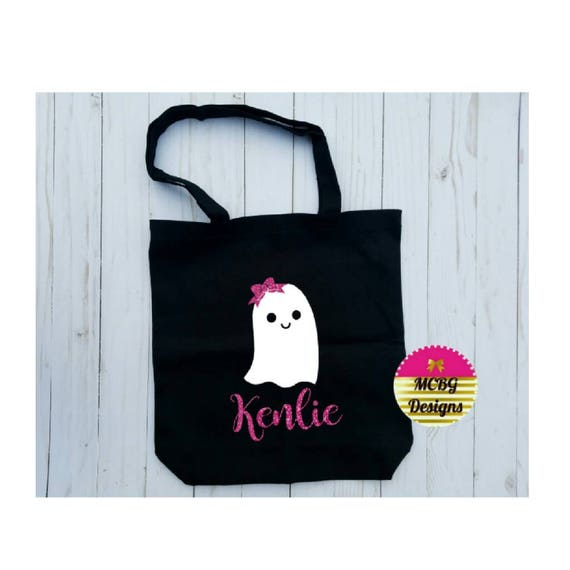 f638969f238b Personalized Ghost With Bow Candy Halloween Treat Bag•Girls Halloween  Bags•Halloween Candy Bag•Girls Trick Or Treat Bag•Canvas Tote Bag
