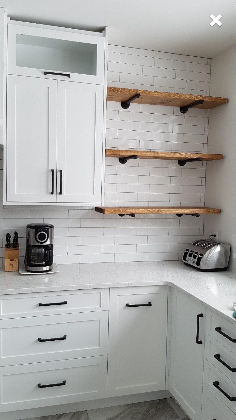 48 Rustic Industrial Wood Pipe Shelf Industrial pipe   Etsy