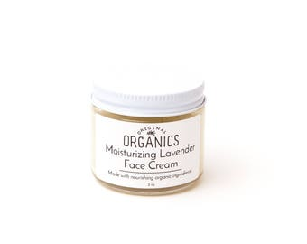 Moisturizing Lavender FACE CREAM - 2 oz // Made with Organic Oils + Butters and Lavender