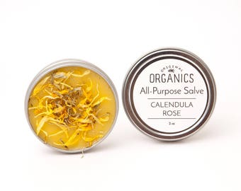 All-Purpose Calendula Rose Salve - 2 oz tin // Made with Local Beeswax + Handcrafted Calendula-Infused Oil // Light Rose Scent