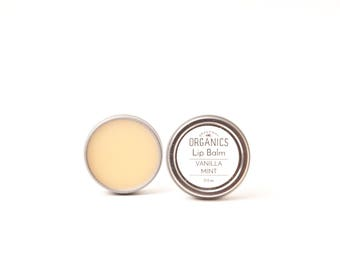 Vanilla Mint LIP BALM - 0.5 oz in metal tin // Nourishing + Organic