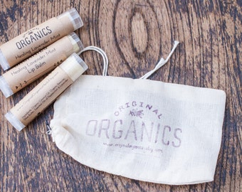 Set of 3 Organic LIP BALMS - 0.15 oz each // Mix + Match // Organic + Mindfully-Sourced Ingredients