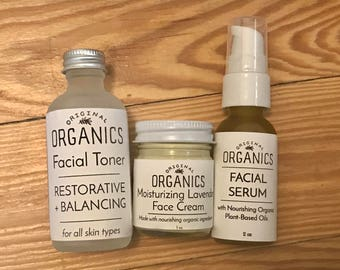 Organic Facial Care Gift Set: Repairing Facial Serum / Restorative Facial Toner / Moisturizing Lavender Face Cream - Comes Ready to Gift!
