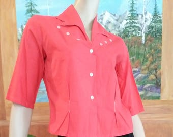 Vintage 40s/50s Shirt Crop Top~Blouse/Coral Pink Cotton /Size S/M /1950 VLV Western Rockabilly /1950 Mad Men/1940 Pinup Girl