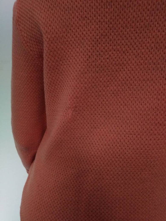 Vintage 40s/50s Sweater Coral Pink Orange/Wool Kn… - image 9