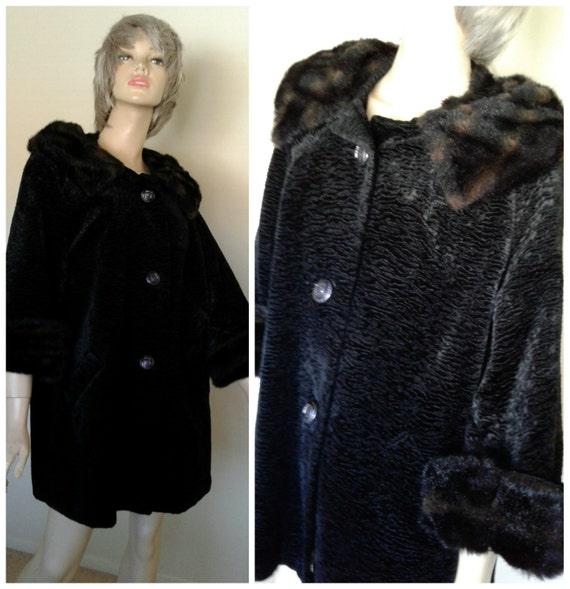 Tagliare annata 1950 Black Velvet cappotto giacca donna con
