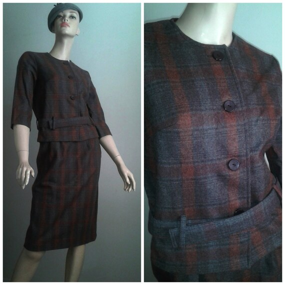 Vintage 50s 2 pc Olive Pencil Skirt Plaid Button Up Shirt M
