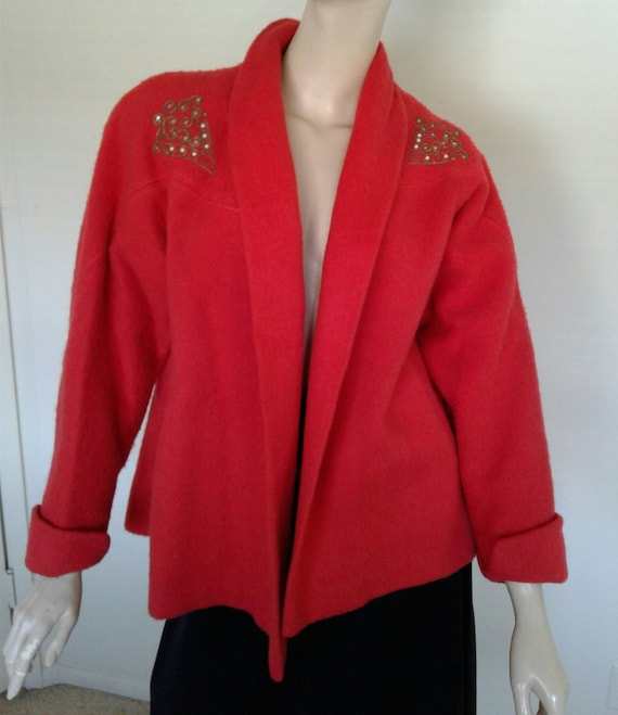 Vintage 40s Red Short Coat Wool Rhinestone Swing C