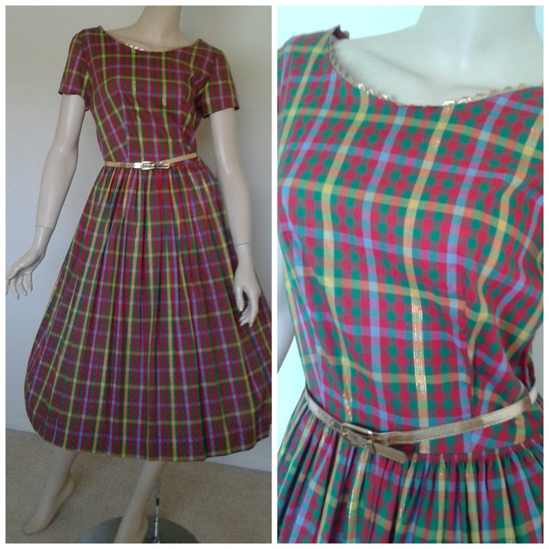 Vintage 50s60s Cotton DressRed Green Plaid1950 Rockabilly Pinup Patio Picnic Size SmDeadstock1960 Mad Men~Mrs MaiselSummer Party