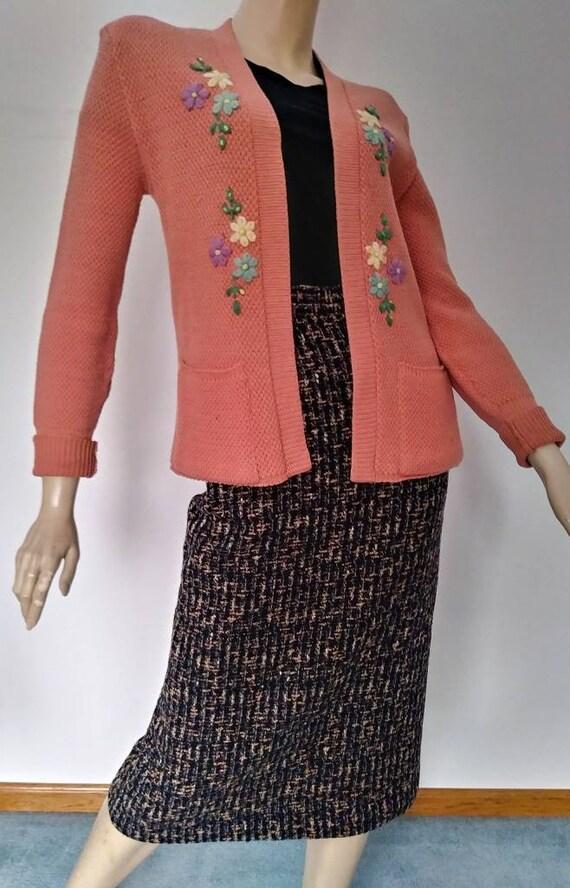 Vintage 40s/50s Sweater Coral Pink Orange/Wool Kn… - image 2