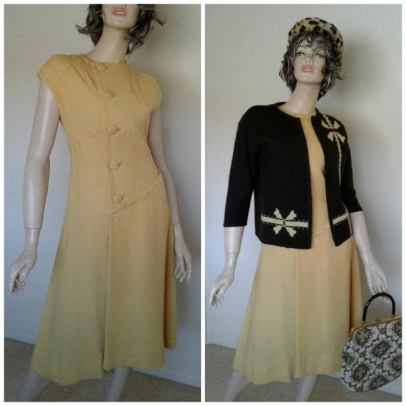 Vintage 40s/50s Yellow Wool Dress 1940 1950 Day to