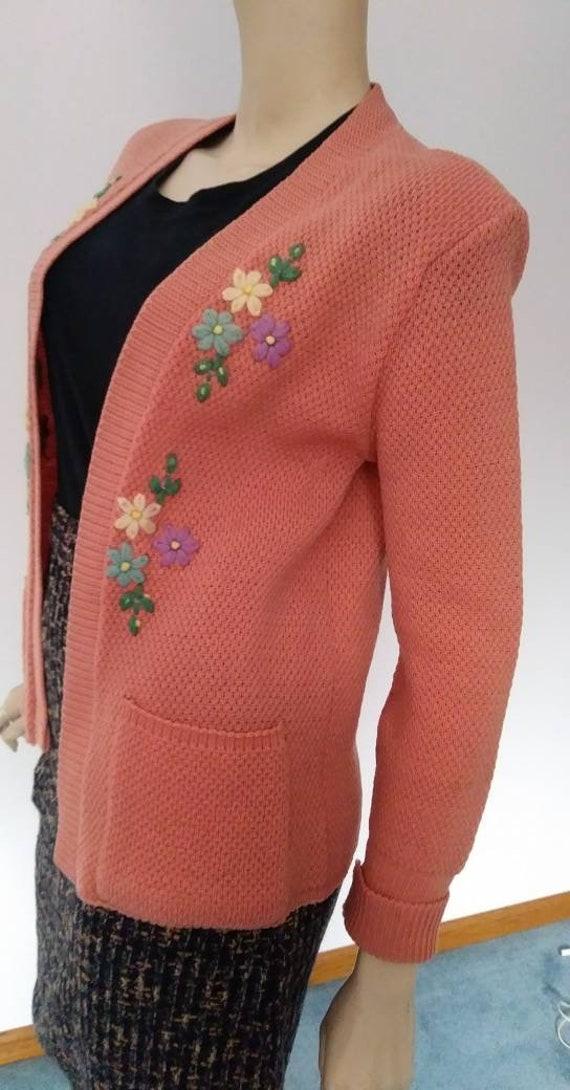 Vintage 40s/50s Sweater Coral Pink Orange/Wool Kn… - image 5
