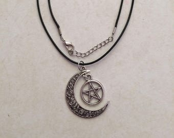 24 Inch Pentacle and Crescent Moon Necklace