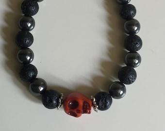 Hematite and Lava Stone Skull Bracelet