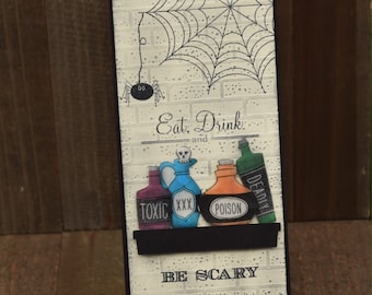 Halloween Wine Tag, Eat Drink and Be Scary Wine Tag, Halloween Hostess Wine Tag, Wine Tag