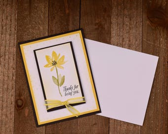 Thank You Card, Floral Thank You Card, Thank You Card For Her, Handmade Thank You Card, Floral Greeting Card, Yellow Floral Card