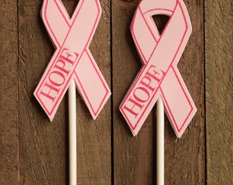 Breast Cancer Ribbon Cupcake Topper, Pink Ribbon Cupcake Toppers, Pink Ribbon