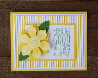 Yellow Floral Get Well Card, Yellow Flower Encouragement Card, Yellow Flower Card, Yellow Flower Sending Good Thoughts Card