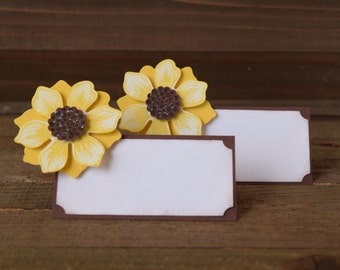 Sunflower Place Card Holders, Sunflower Food Tent Labels, Sunflower Party Decor