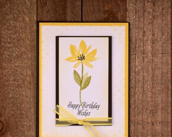 Happy Birthday Card, Yellow Floral Birthday Card, Birthday Card For Her, Handmade Birthday Card, Floral Greeting Card
